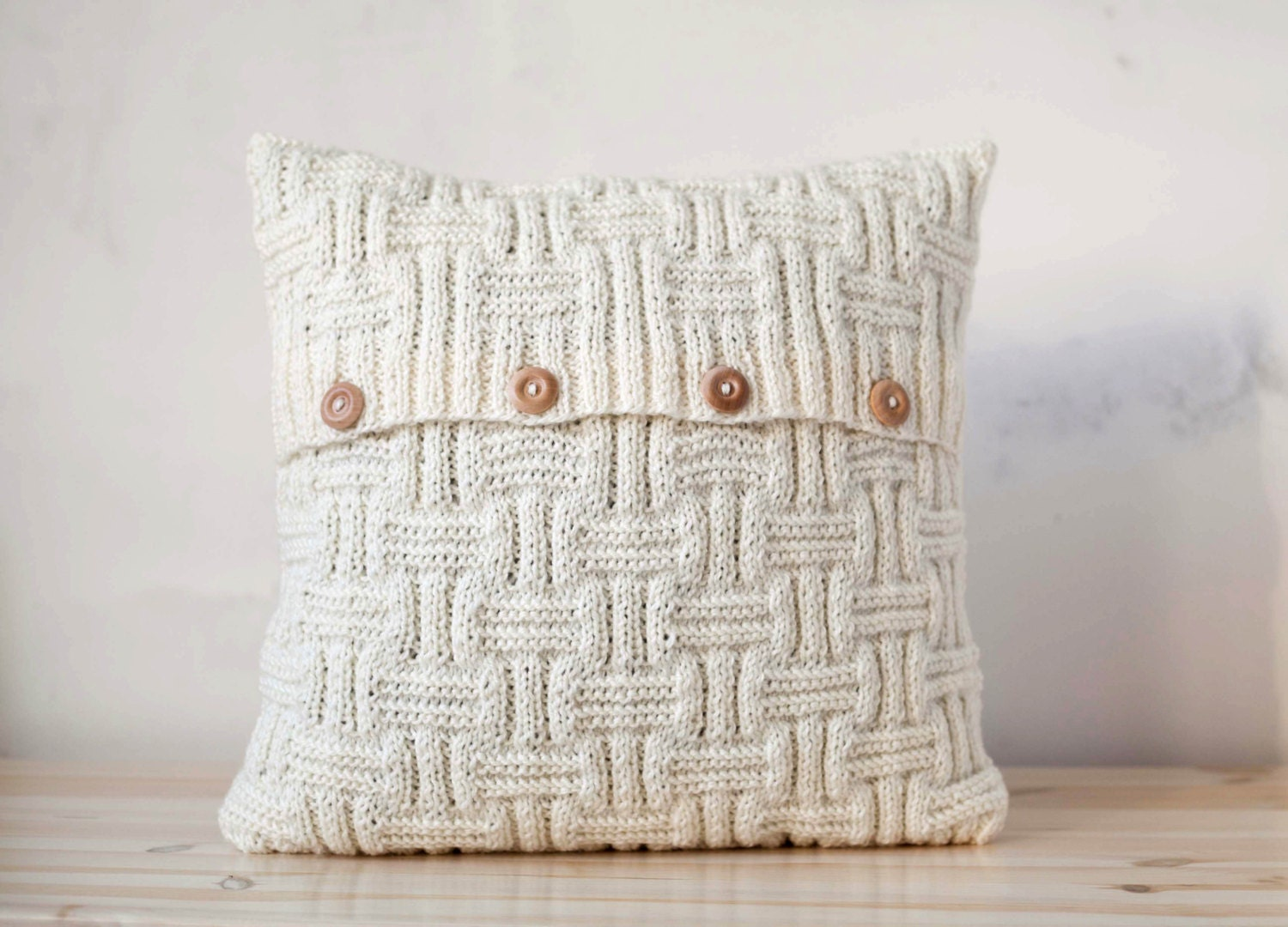 Knitting Pattern For Cushion Cover Chunky Wool : Chunky hand knitted cushion lines pattern pillow cover with