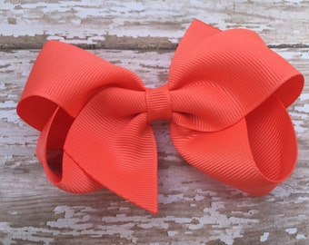 4 inch bright coral hair bow - bright coral hair bow, coral bow