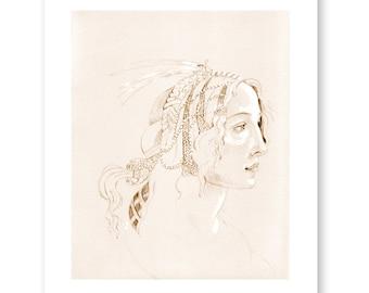 Simonetta, after Botticelli- Renaissance Art- Italian Art- Fine Art Print- Fashion Illustration