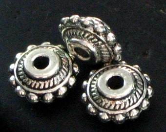 Chunky Round Beaded Trim Pewter Spacer Beads - Set of 20