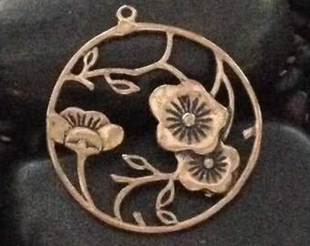 Beautiful Brass Floral & Vine Pendant for Jewelry Project