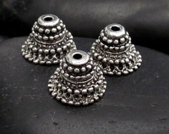 Heavy Beaded Detail Pewter Bead Cap - Set of 12