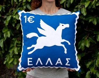 Greek pegasus stamp cushion cover