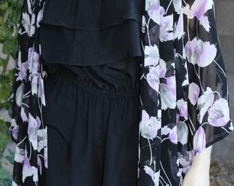 Purple Floral Boho Kimono Duster, Sheer Free Size Kimono, Pool Side Glam Coverup