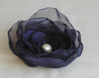 Sheer, Navy Blue Flower Hair Clip