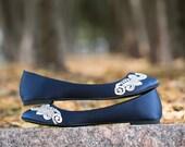 Wedding Flats - Navy Flats, Blue Wedding Flats/Bridal Shoes, Navy Satin Flats, Flat Wedding Shoes, Ballet Flats with Ivory Lace. US Size 10