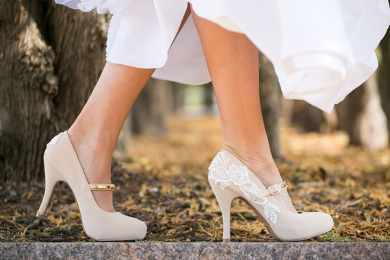SALE. Nude Mary Jane Heels Nude Bridal Shoes Nude by walkinonair