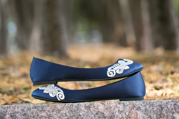 Navy Blue Flats with Ivory Toe Lace