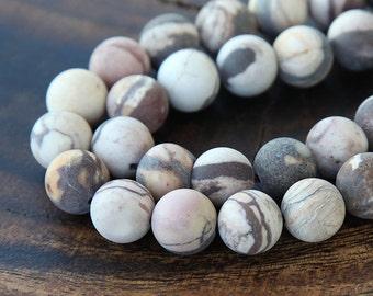Natural Matte Zebra Jasper Beads, 10mm Round - 15 inch Strand - eGR-JA015-10