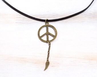 Hippie Necklacе,  Boho necklace, Bohemian jewelry, Hippie jewelry, Bronze Necklace with Leather strap