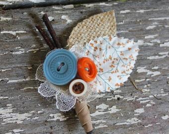 Burlap & Vintage Buttons Boutonniere - Burlap, Lace and Vintage Button Wedding Boutonnieres -Custom-