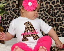 Monogram Baby Girl Personalized Bodysuit Or Gown Leopard Brown Hot Pink Monogram Headband Leg Warmers Option Newborn Girl Take Home Outfit
