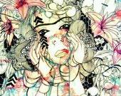 Floral art - Poster art - Large art print - Watercolor art - Portrait art - Art print - Watercolor art print - Gift for her