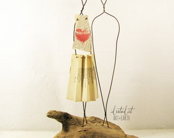 Rustic Folk Art Wire Sculpture Wedding or Anniversary Gift on Driftwood Mixed Media Art