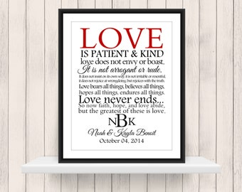 Love is Patient & Kind 1 Corinthians 13 Print Digital Download PDF