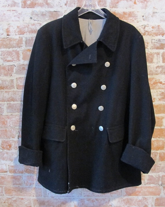 Vintage Swiss Military Coat Wool Army Jacket Black Silver