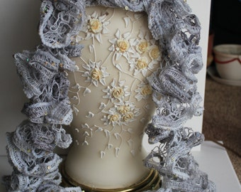 Silver Sparkle Ruffle Scarf with Sequin Accents