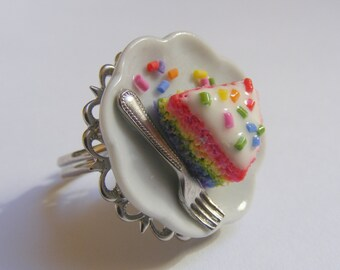 Food Jewelry Rainbow Cake Ring, Scented Jewelry, Rainbow Cake Jewelry, Miniature Food Ring, Mini Food Jewellery, Polymer Clay Food Gay Pride