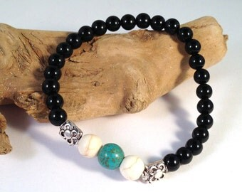 Natural Stone BRACELET with Black Onyx, Howlite and Turquoise on Elastic OOAK