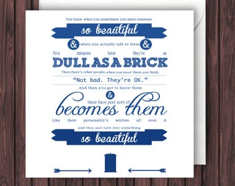 Doctor Who Amy Pond Quote. Doctor Who Valentines Card. Birthday Card. Anniversary Card. Greetings Card. Geek Card. Blank Card.