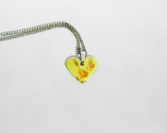 Yellow Floral Guilloche Heart Necklace
