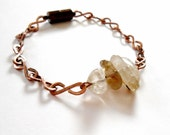 Raw Golden Rutilated Quartz and Hand Hammered Oxidised Copper Chain Bracelet