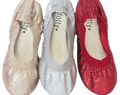 KIDS SHOES -Gold, Red, and Silver glitter elastic ballet flat. Perfect for princess, fairies, and flower girl shoes