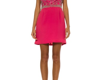 1960s Vintage Mod Hot Pink Beaded Mini Dress  Size: XS/S