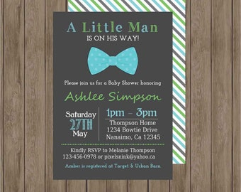 "CUSTOMIZABLE PRINTABLE DIY ""Little Man"" Bowtie Baby Shower Invitation -  by Pixels n Ink"