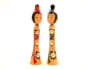 signed Sosaku  Kokeshi Dolls Hand Painted Turned Wood Doll with Original Box