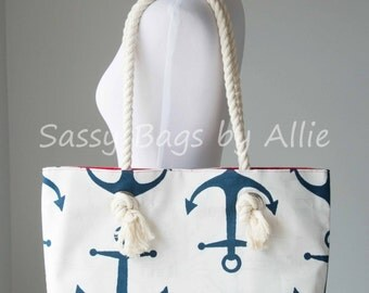 Navy Anchor Tote-Large Bag/Purse with Rope Handles-White/Bright Red Nautical Tote-Premier Prints Anchors/Oxford