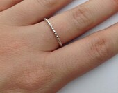 Beaded Sterling Silver Simple Ring