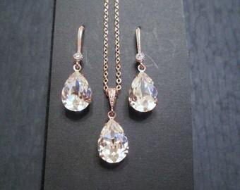 NEW Rose Gold Bridesmaid Jewelry Set/Swarovski Vintage Rose Crystal/Bridesmaid Set/Crystal Necklace/Swarovski Crystal Earrings/Blush Pink/
