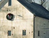 Winter Barn Christmas Wreath Horse Weathervane Photography
