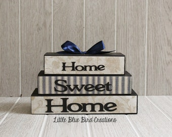 Home Sweet Home Stacked Wooden Blocks Primitive Home Decor