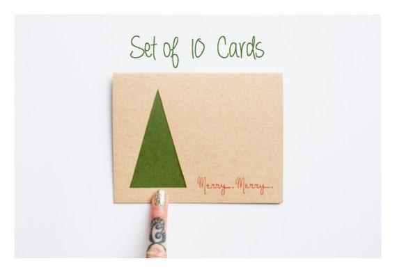 Minimal Christmas Tree Card Set Laser Cut