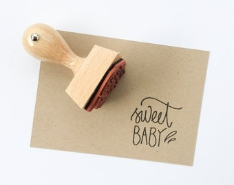 Sweet Baby Rubber Stamp - Baby Shower stamp - Hand lettered rubber stamp - Baby Stamp - rubber stamp - ready to ship -