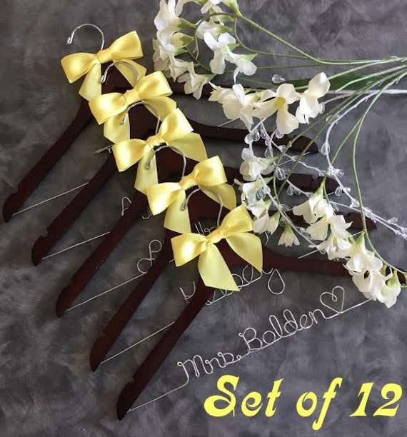 CYBER SALE set OF 12  custom wedding hangers / 4 different hanger colors/  40 satin ribbon colors /name hanger/ you design/ bridal party han