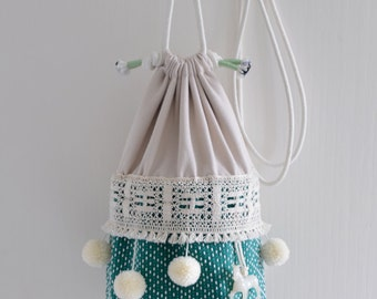 The circus has come to town basket bag - ON SALE 10% off circus style, pompom bag, green ivory circus tent