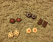 BUNDLE! Handmade Kawaii Cookie Polymer Clay Earrings. Cute Chocolate Treats Fashion Accessories. Includes 5 pairs of earrings.
