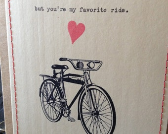 Bicycle card Funny Love Card Funny valentine's love card bike bicycle love anniversary card funny anniversary card love card for him