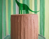Green perspex dinosaur brontosaurus cake topper decoration