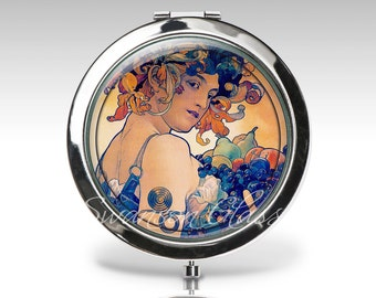 Personalized compact mirror, Art Deco, Art Nouveau, Alphonse Mucha, gift for woman, Fruit,  bridesmaid gift, bridal party gift C40