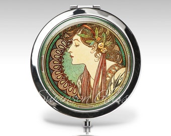 Personalized compact mirror, Art Deco, Art Nouveau, Alphonse Mucha, gift for woman, green brown,  bridesmaid gift, bridal party gift C41