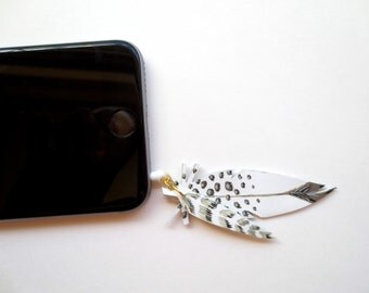 Pair of Leather Feathers - Hand Painted - Cellphone Charm