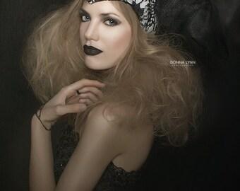 Black, Tulle,headdress, black & white headpiece,black lace, DRAG, helmet,lace headpeice, headdress, warrior princess
