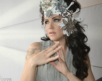 Metal,Pewter,Petals,flowers,Crown,Fascinator,Headdress,Headpiece,Fairy,Hat,Fascinator,Crown,Metallic
