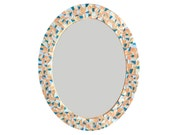 Coral, Blue, Teal Oval Mosaic Wall Mirror