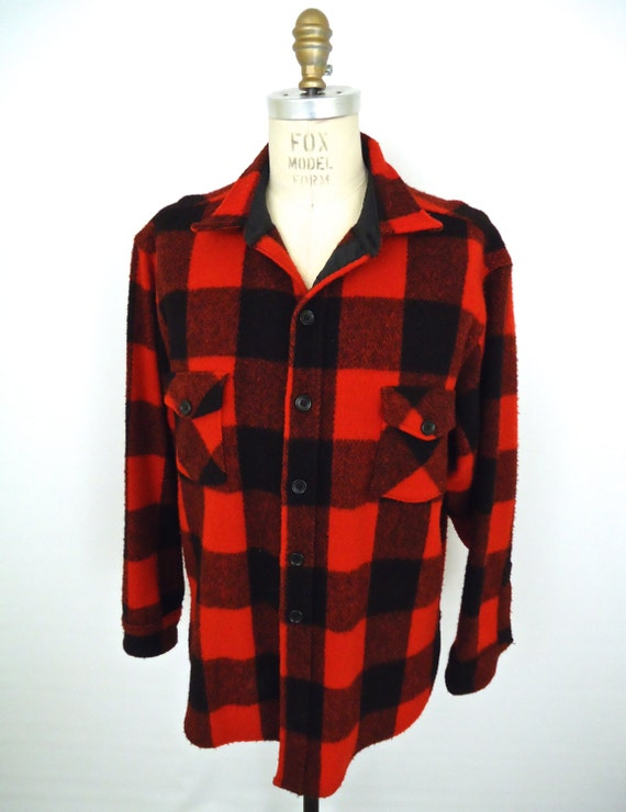 Woolrich buffalo check flannel red black plaid heavy for Red buffalo flannel shirt