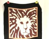 Vintage Designer Anne Klein Lion Signature Motif Silk Scarf  NOS
